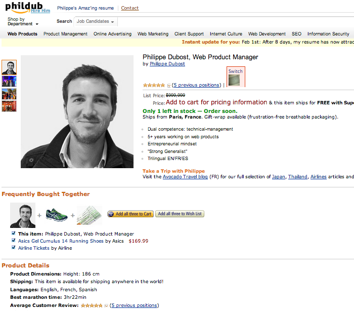 Philippe Dubost's Amazon style cv