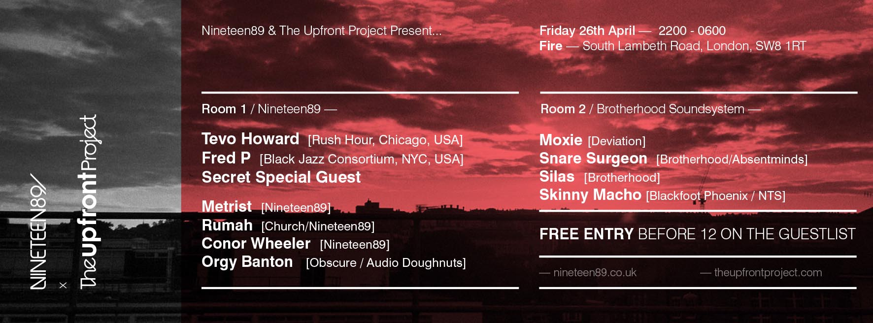 The Upfront Project and Nineteen89 Free Party