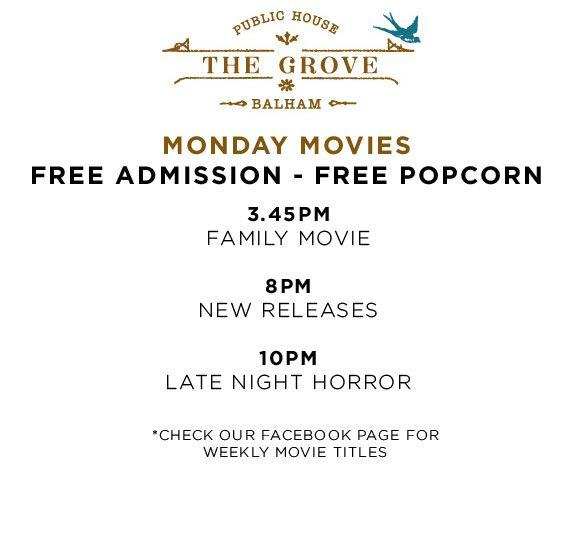 Free Monday Movies and Popcorn at The Grove in Balham