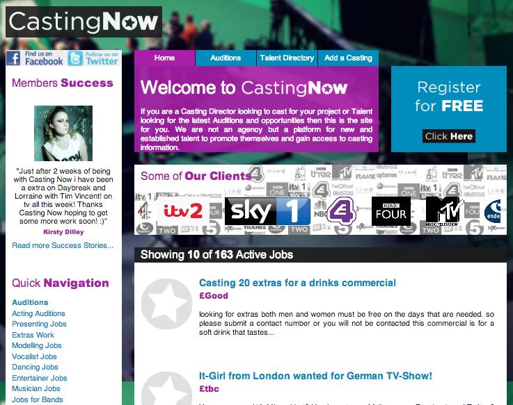 castingnow co uk broke in london