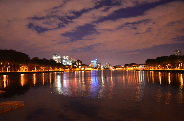 Surrey Quays Docks at night
