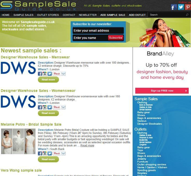 SampleSaleGuide.co.uk