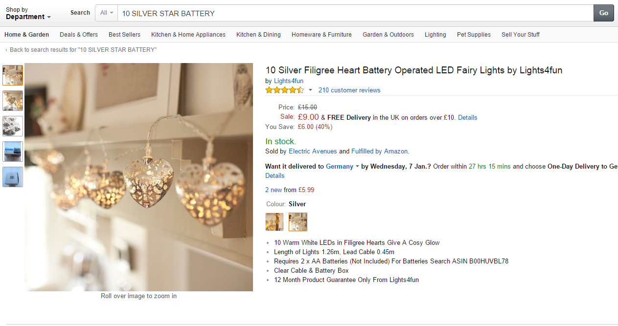 Silver star batery lights on Amazon