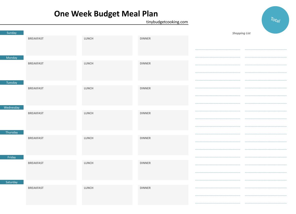 weekmenu budget
