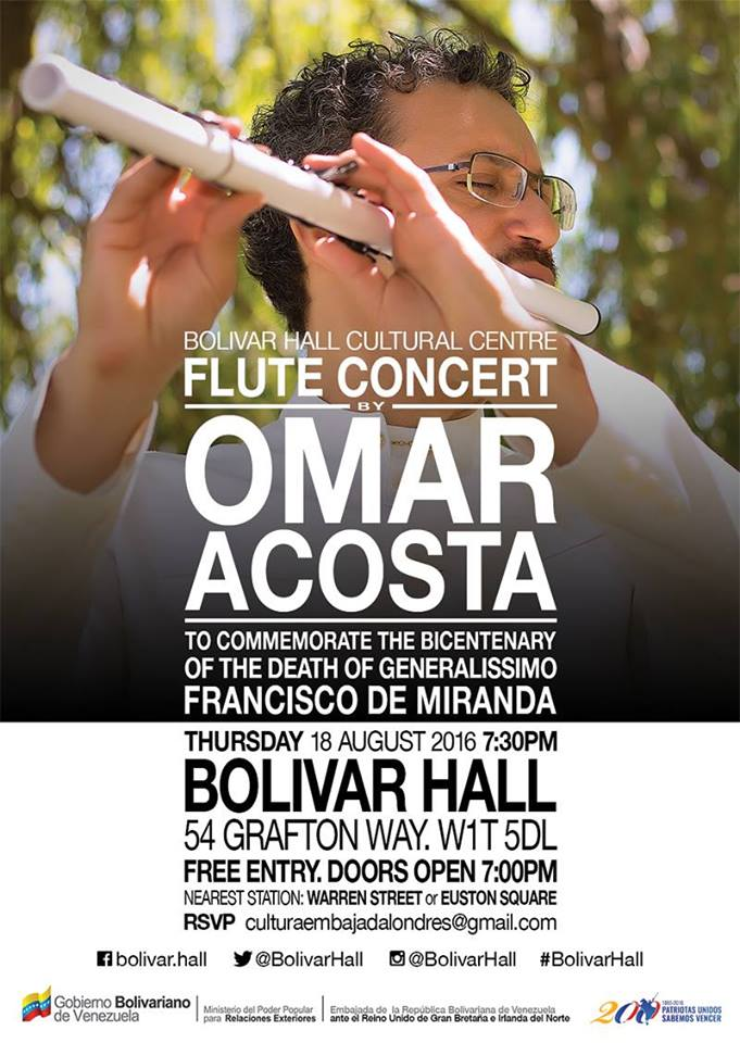 Free Concert: Omar Acosta at Bolivar Hall