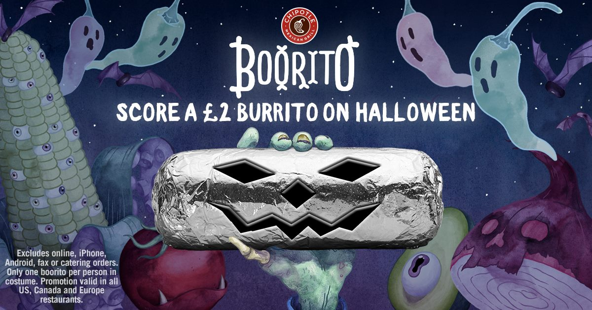 Grab a Burrito in Chipotle for just £2 this Halloween