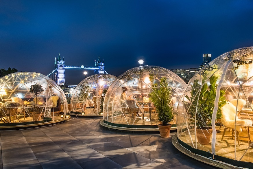 Igloos in front of Tower Bridge