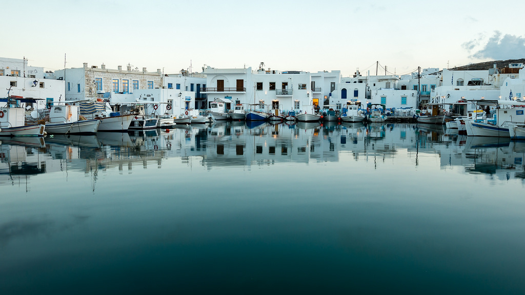 fishing boats in Paros port in Greece
