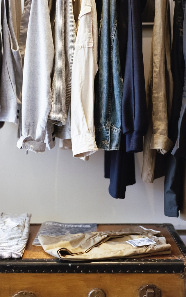 Student closet with clothes